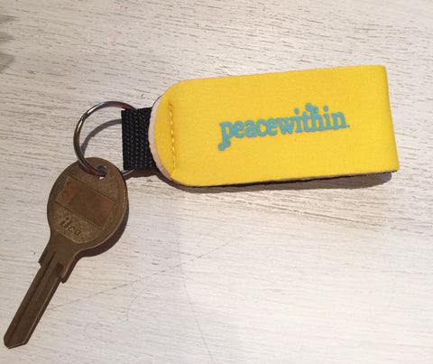 Peace- Within Keychain holder, neoprene wristlet, Yellow/Blue