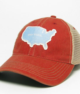 Trucker Hat, USA red/baby blue mesh back