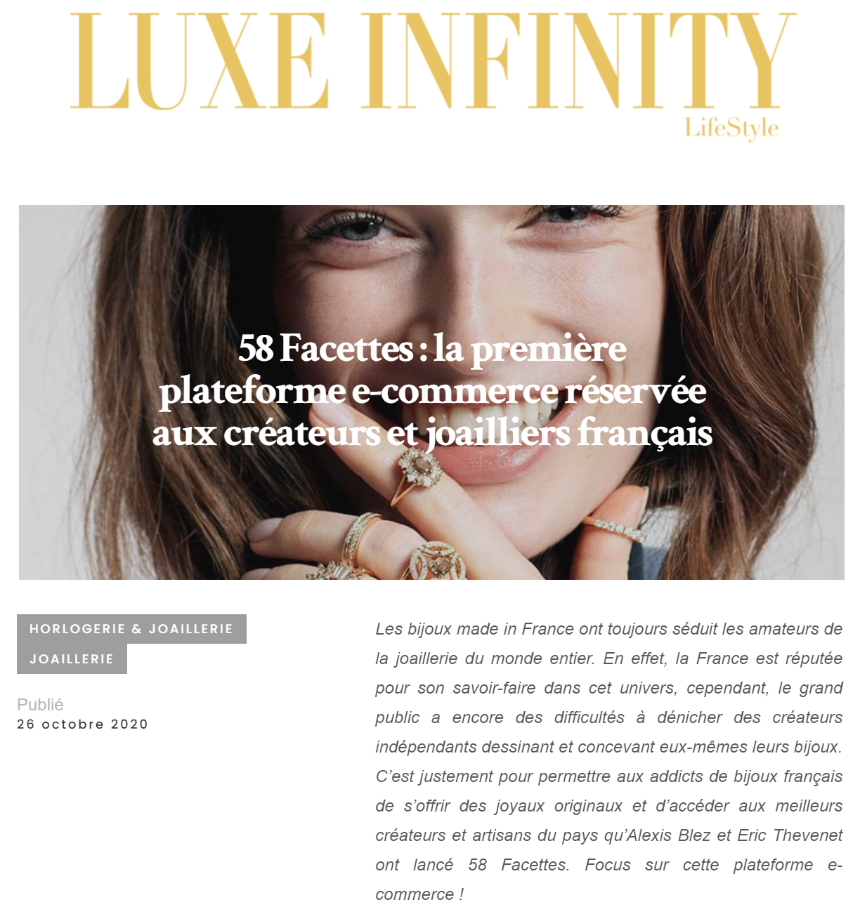 Luxe Infinity LifeStyle - 58 Facettes