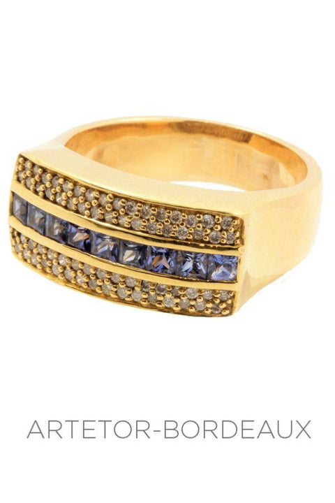 Bague saphirs et diamants
