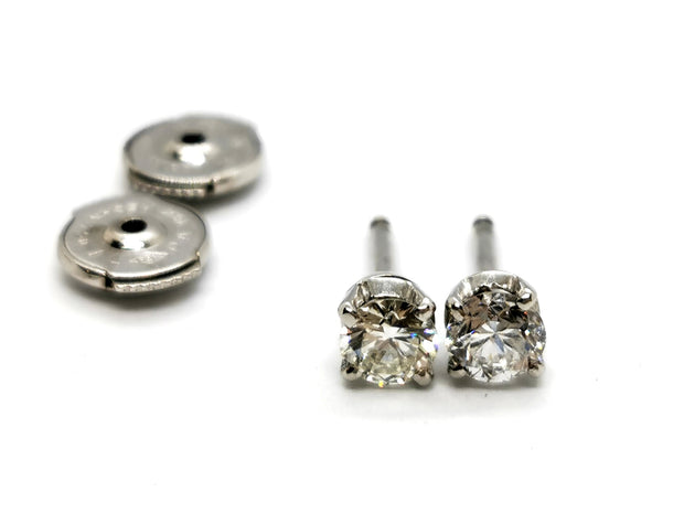 Boucles d'oreilles or blanc diamants
