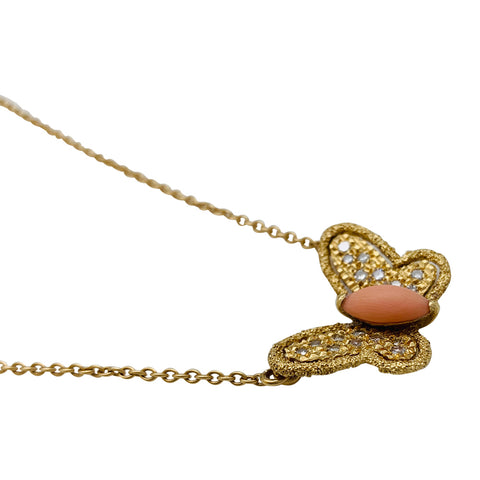 "Collier Van Cleef & Arpels ""Papillon"" en or jaune, diamants et corail."