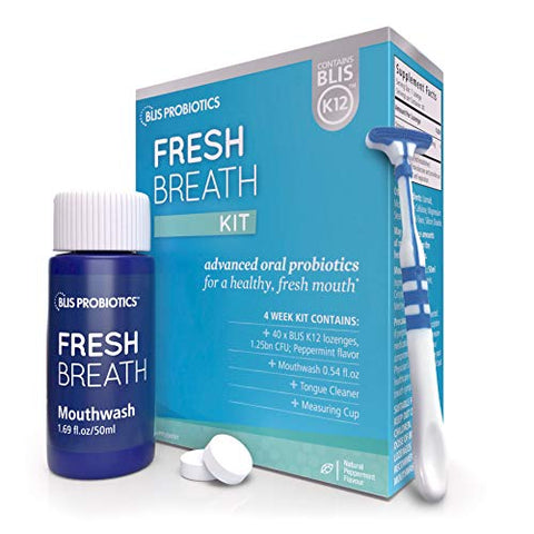 BLIS Fresh Breath Kit with Potent BLIS K12 Oral Probiotics Clinically Proven Bad Breath and Halitosis Treatment Contains Mouthwash