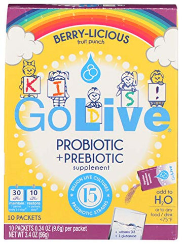 GoLive Probiotics for Kids and Family - Prebiotics and Probiotics for Gut and Digestive Health - Clinically Tested Formula Proven
