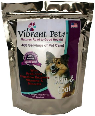 Vibrant Pets High-Quality Skin and Coat Diet Supplements Original Premium Dog Coat Supplement and Dog Skin Supplement Powder with Probiotics Natural Ingredients 480 Servings 48oz