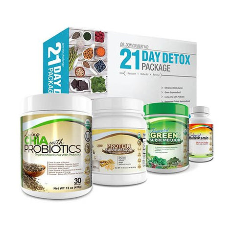 Don Colbert MD 21 Day Detox Package - 30 Day Milled Chia Plus Probiotics - 30 Day Enhanced Multivitamin Plus Minerals - 21 Day Vegan Protein Powder - 30 Day Green Supremefood Plus Enyzmes and Herbs