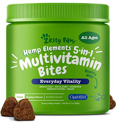 Zesty Paws Multivitamin for Dogs with Hemp - Glucosamine Chondroitin + MSM for Hip and Joint Health - Digestive Enzymes and Probiotics for Digestion - Vitamins and Omega 3 for Skin and Coat + Heart and Immune