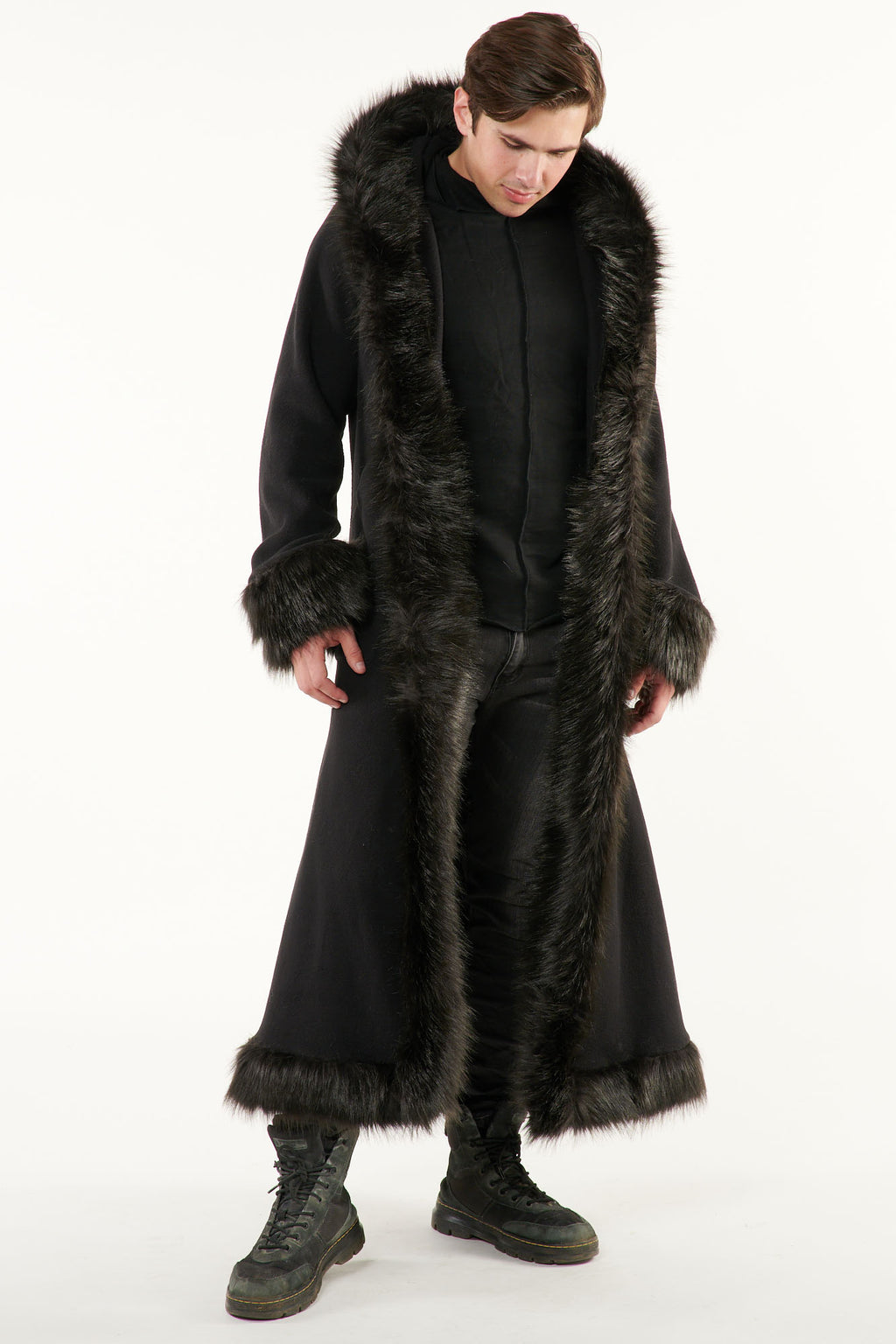 Classic Baron Coat: Black Coat + Black Faux Fur Trim