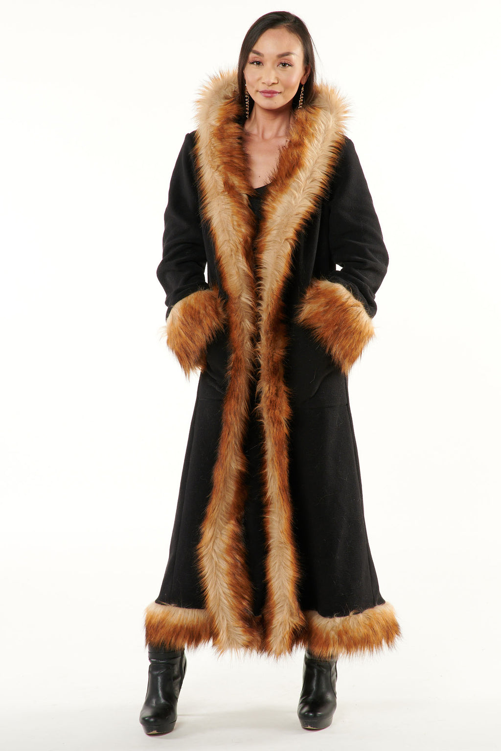 Classic Baroness Coat: Black Coat + Brown Fox Faux Fur Trim