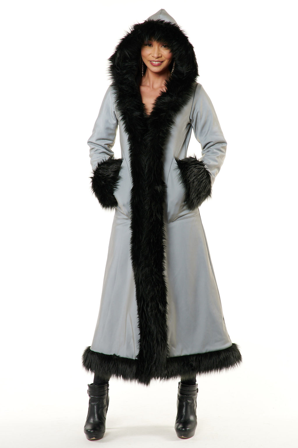 Deluxe Baroness Coat: Full On Reflective + Black Faux Fur Trim