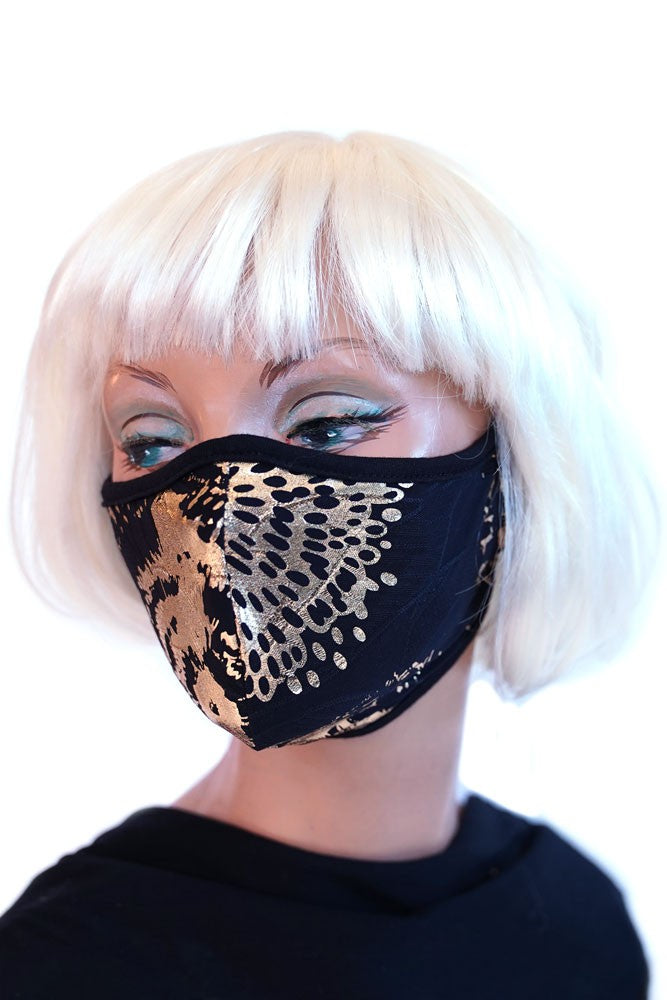 Black & Gold Floral Mask