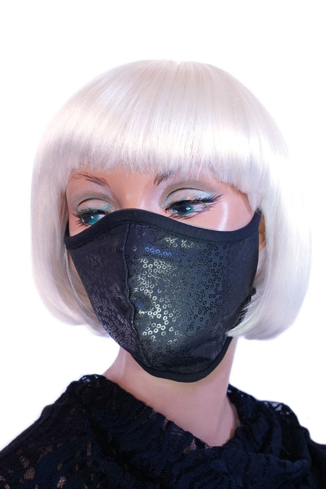 Black with Black Printed Sequins Mask