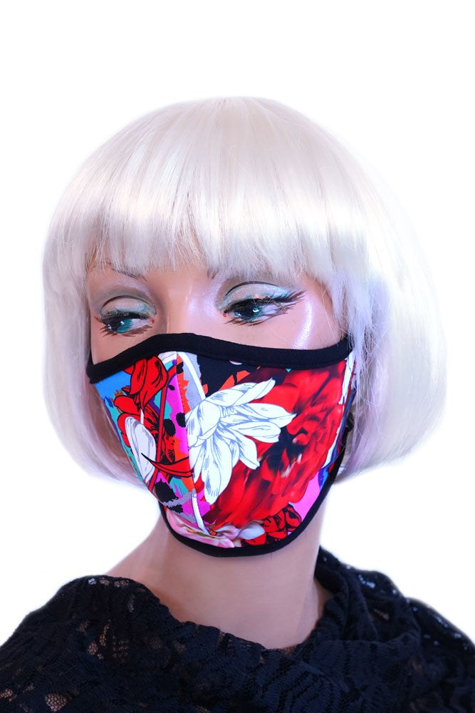 Red Floral Mask