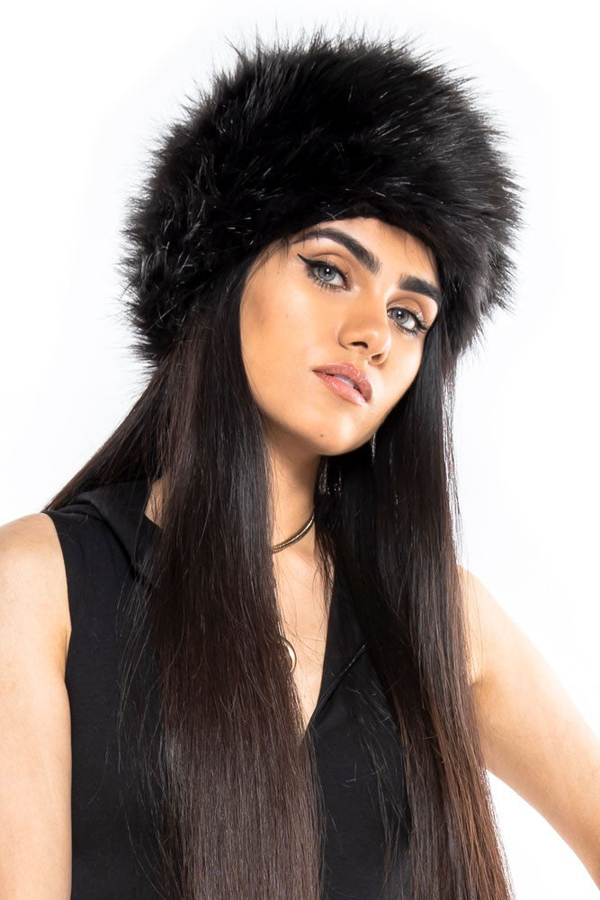Black Faux Fur Babushka Hat