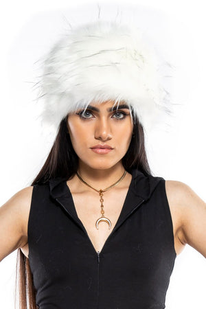 White Faux Fur Babushka Hat