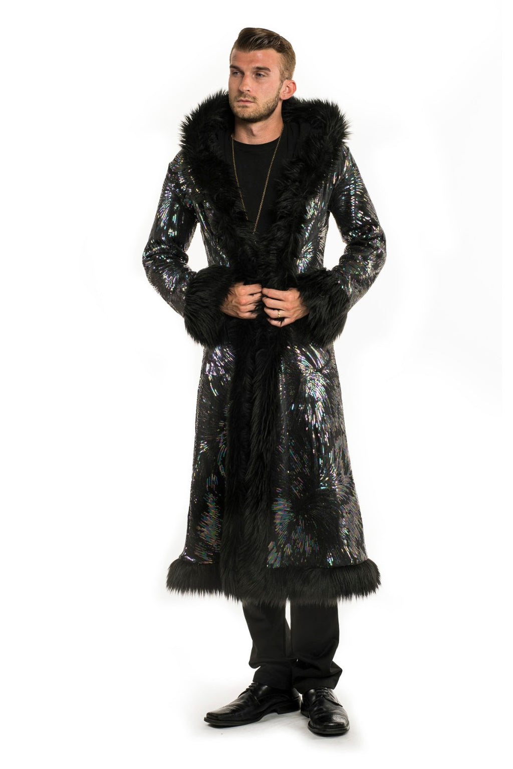 Deluxe Baron Coat: Super Nova Seqiun + Black Faux Fur Trim