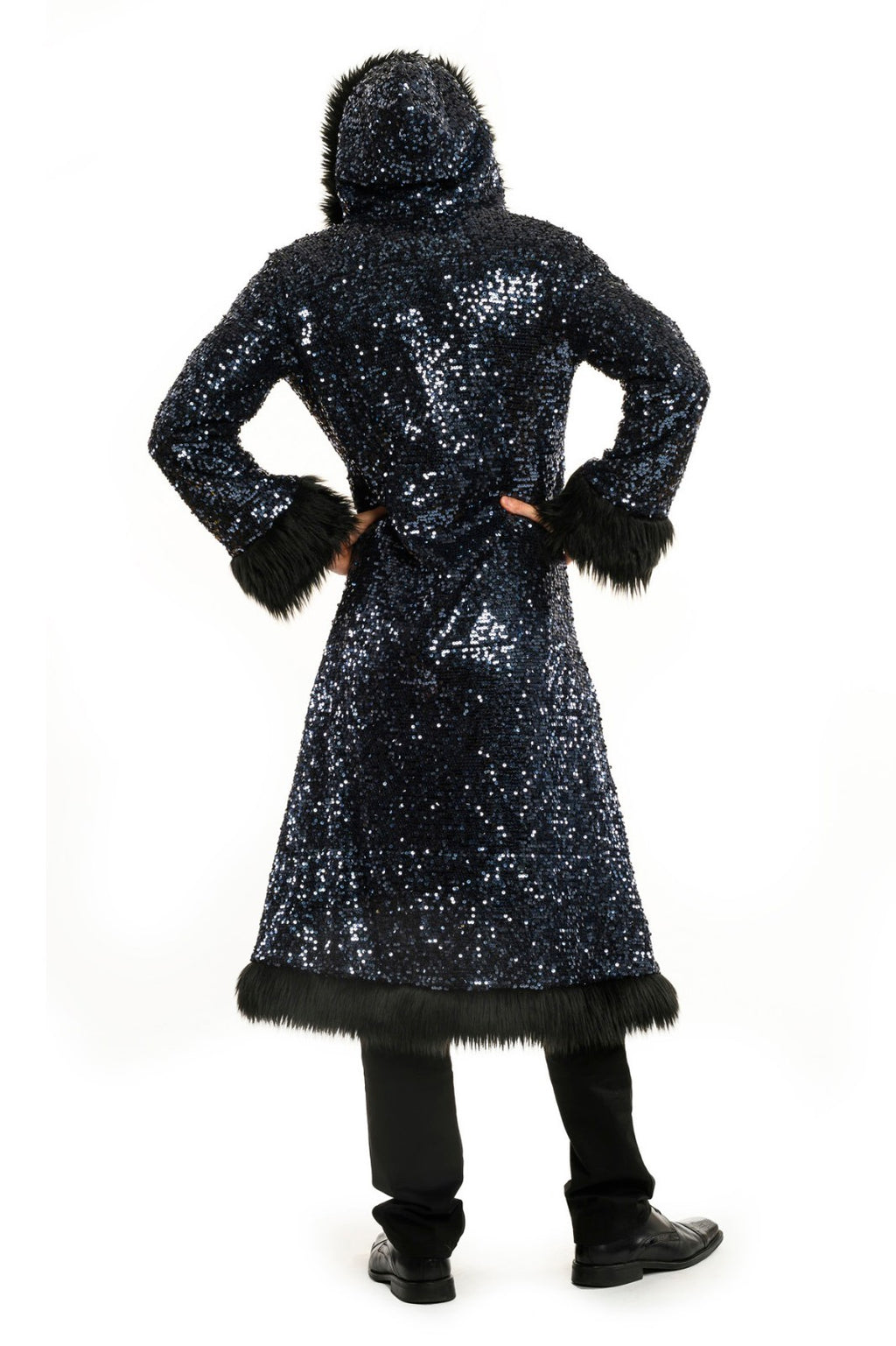 Deluxe Baron Coat: Blue Steel + Black Faux Fur Trim
