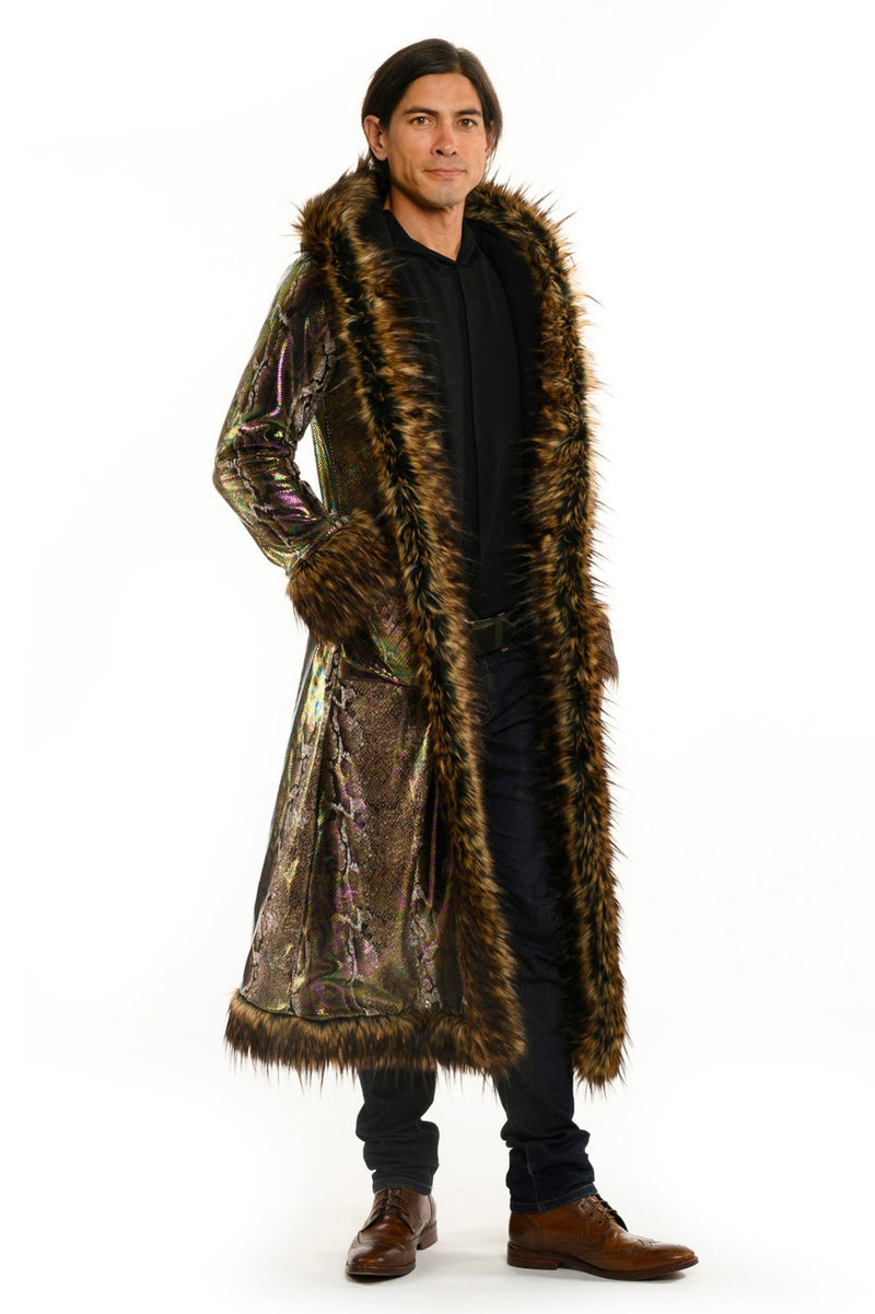 Deluxe Baron Coat: Brown Python + Minx Faux Fur Trim