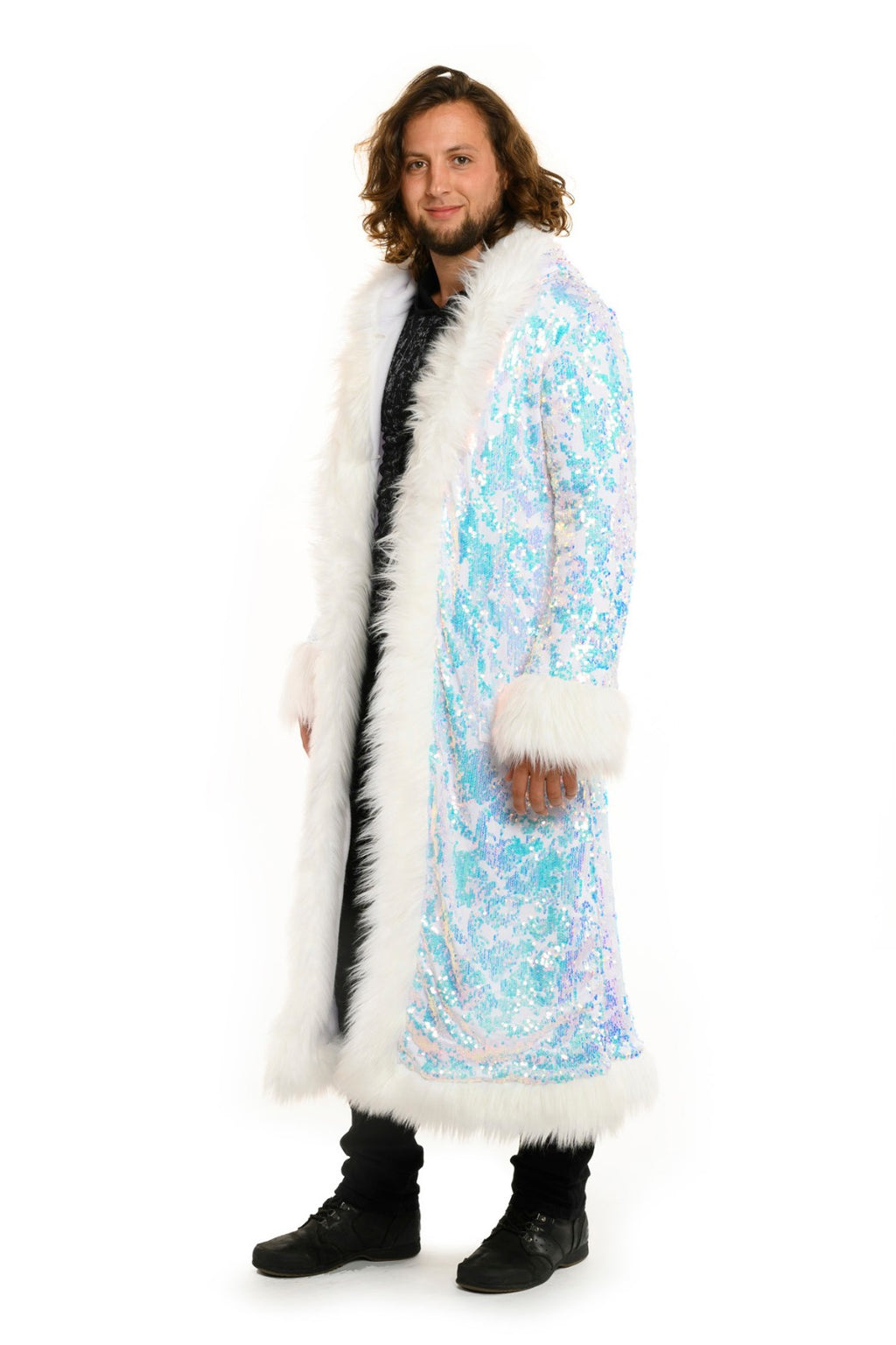 Deluxe Baron Coat: Fearless Unicorn Seqiun + White Faux Fur Trim