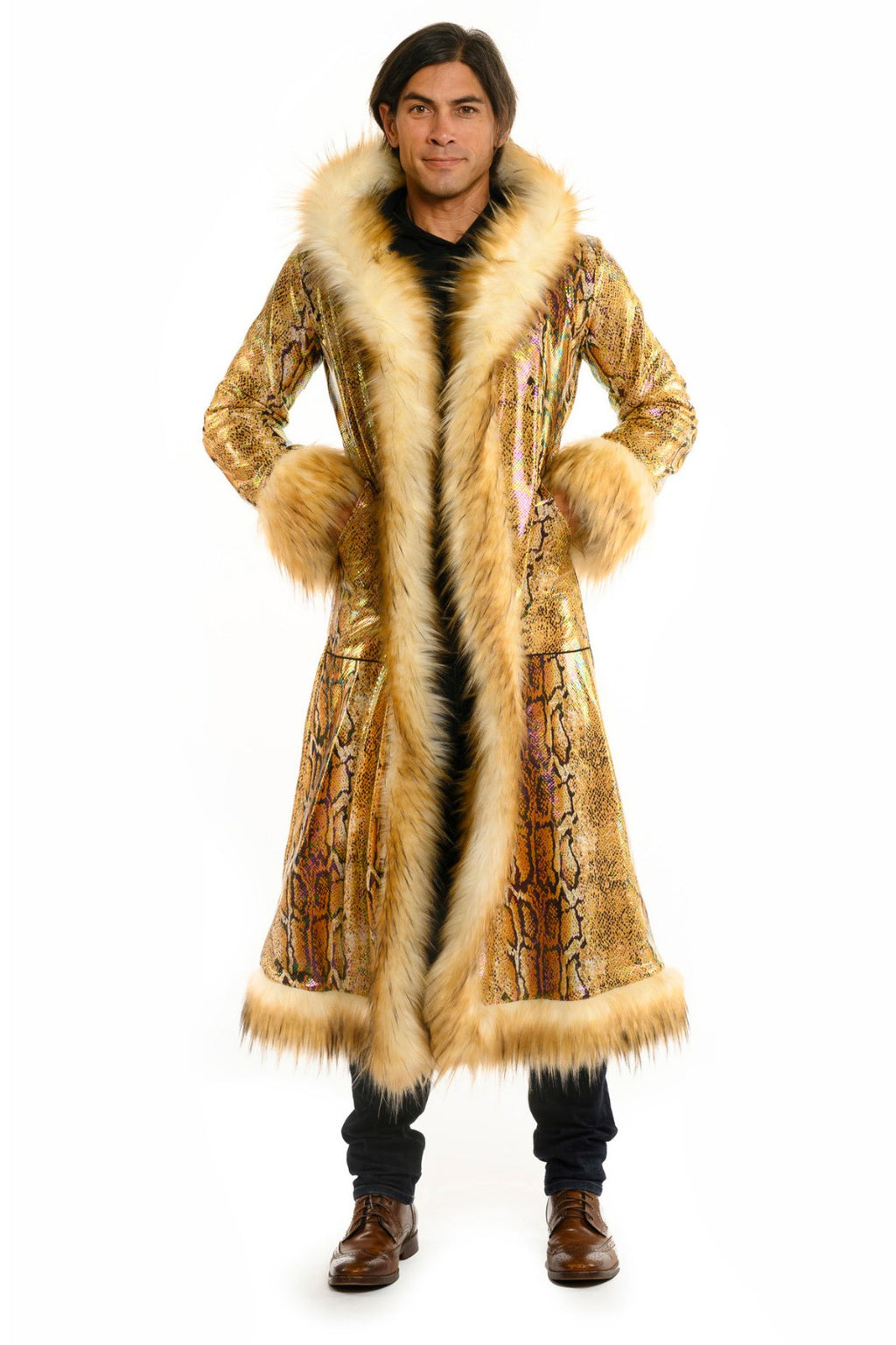 Deluxe Baron Coat: Gold Python + Cream Mongolian Faux Fur Trim