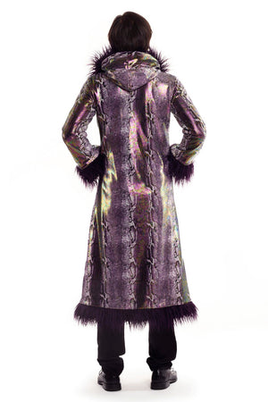 Deluxe Baron Coat: Purple Python + Purple Mongolian Faux Fur Trim