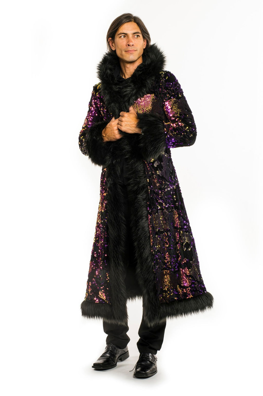 Deluxe Baron Coat: Purple Rain + Black Faux Fur Trim