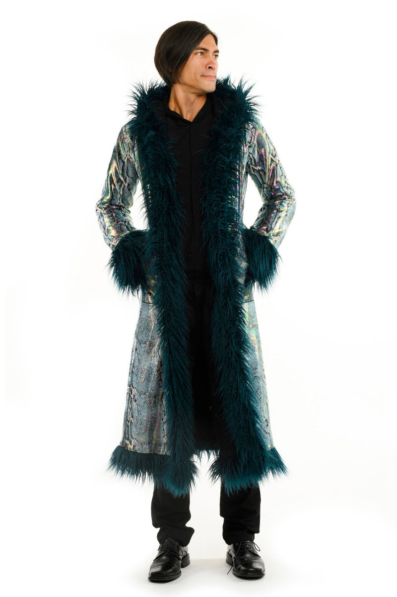 Deluxe Baron Coat: Teal Python + Teal Mongolian Faux Fur Trim