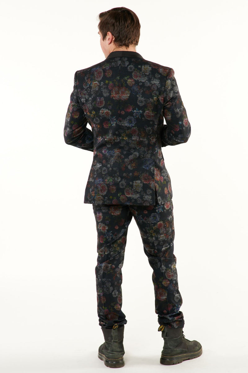 Black Distressed Floral Suit