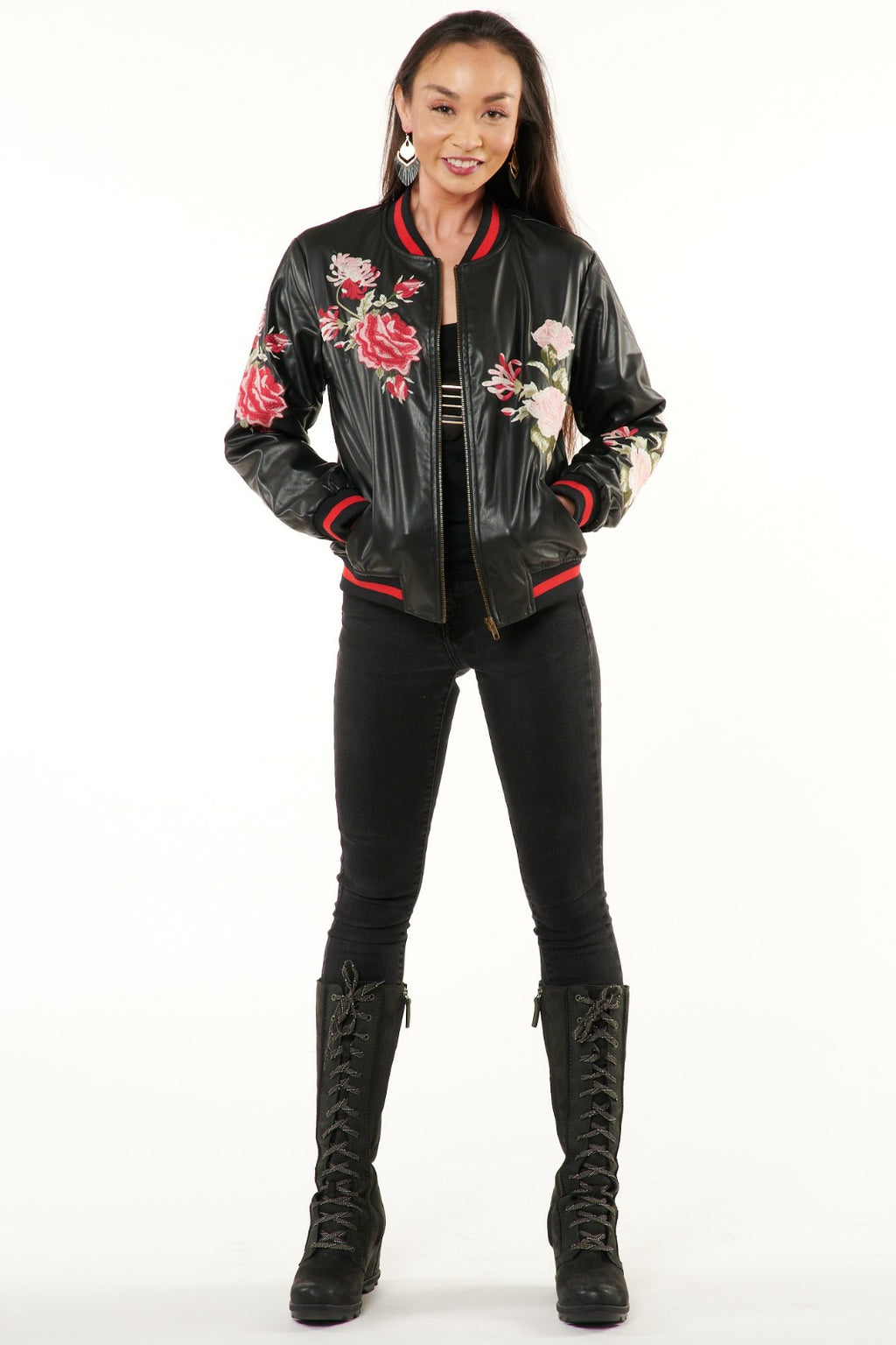 Black Floral Embroidered Vegan Leather Bomber Jacket
