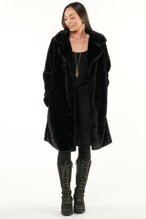 Black Minky Faux Fur Coat