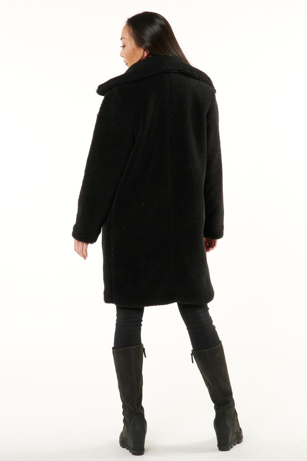 Black Sherpa Double Breasted Coat