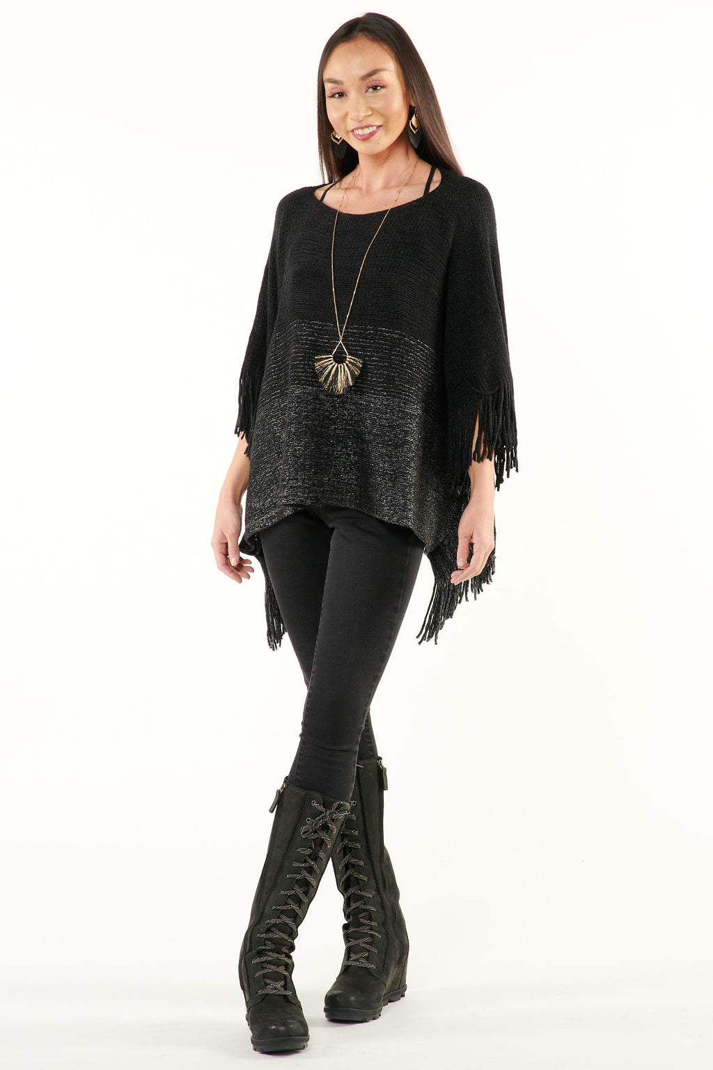 Black Silver Metallic Fringed Poncho Sweater