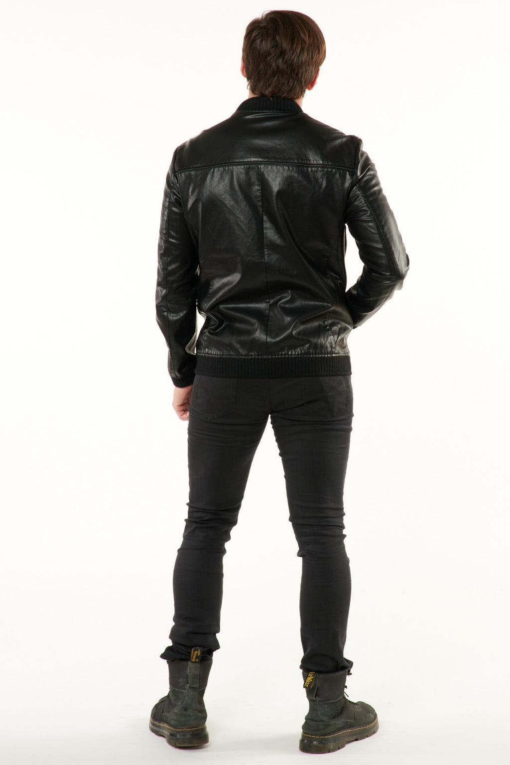 Black Vegan Leather Bomber Jacket