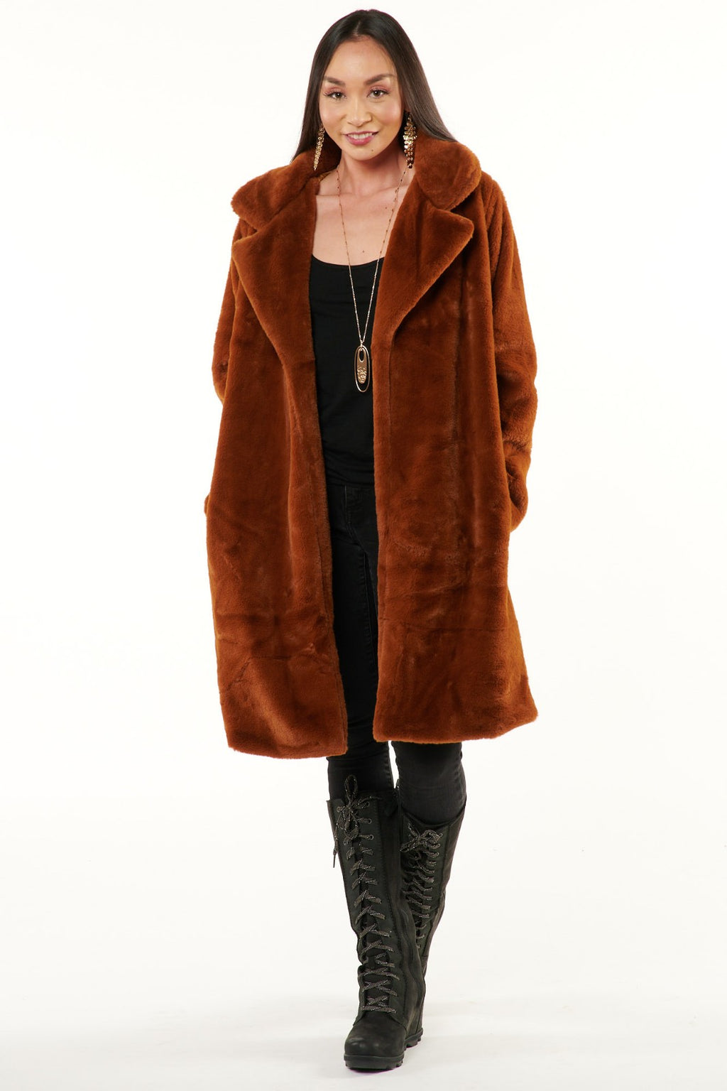Cinnamon Minky Faux Fur Coat