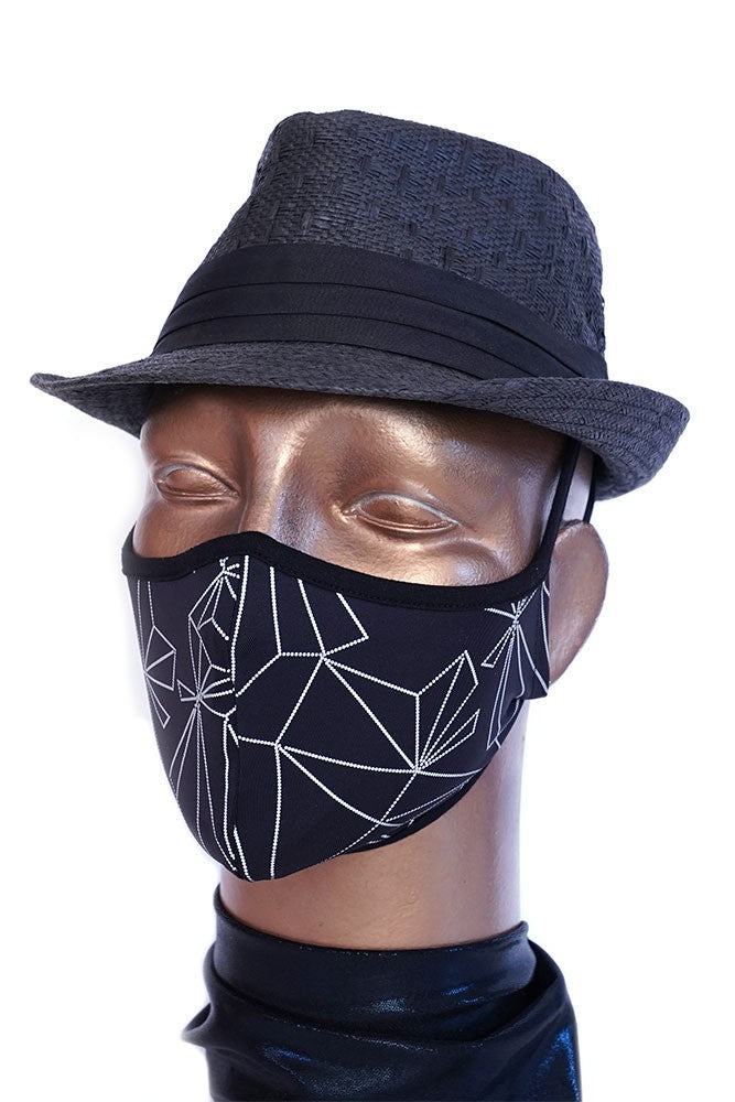 Black Reflective Cystal Print Mask