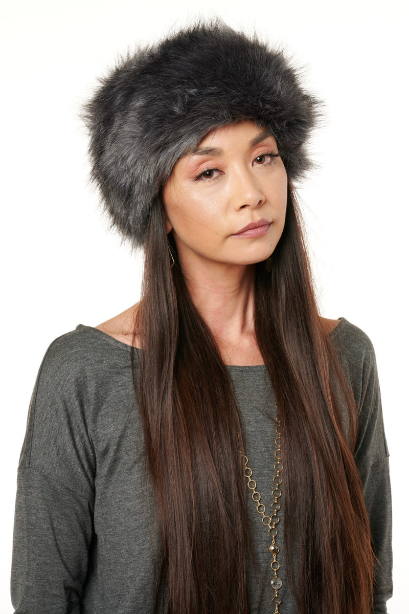 Grey Babushka Faux Fur Hat