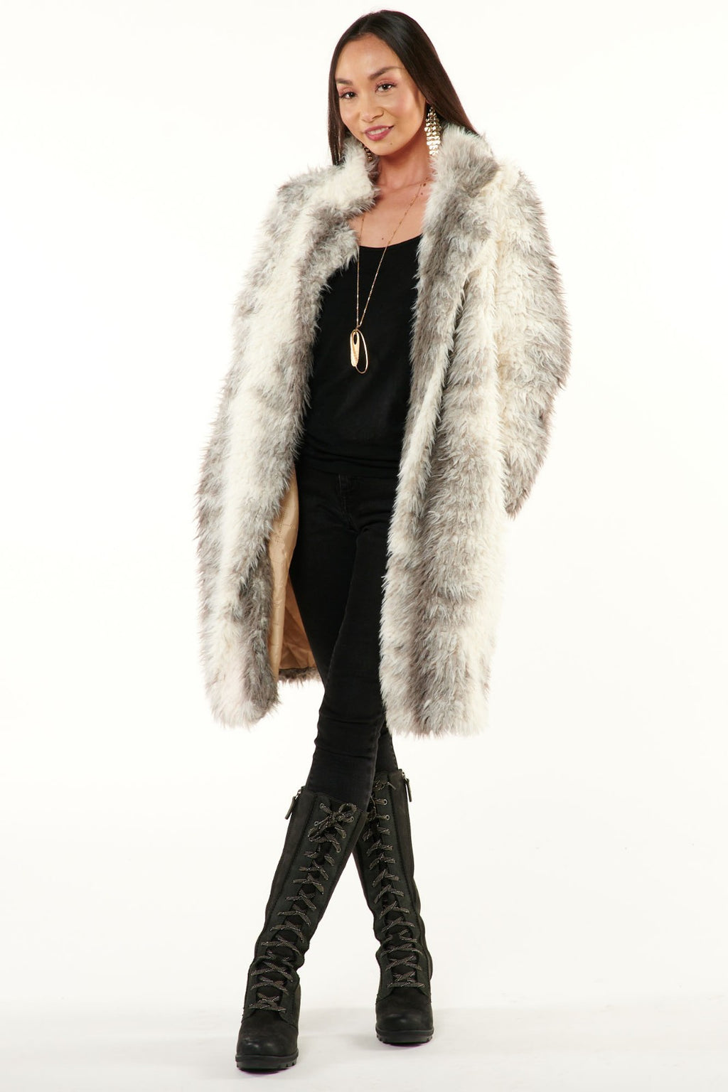 Grey & Cream Mongolian Fuzzy Coat