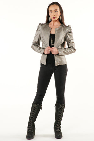 Gunmetal Pouf Shoulder Jacket