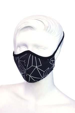 Reflective Black Crystal Print Kids or Small Adult Mask