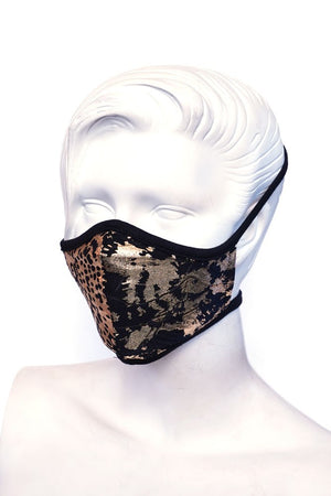 Gold Floral Print Kids or Small Adult Mask