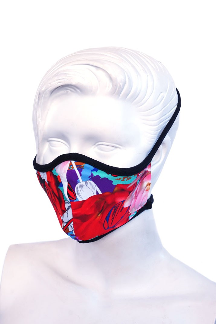 Red Floral Kids or Small Adult Mask