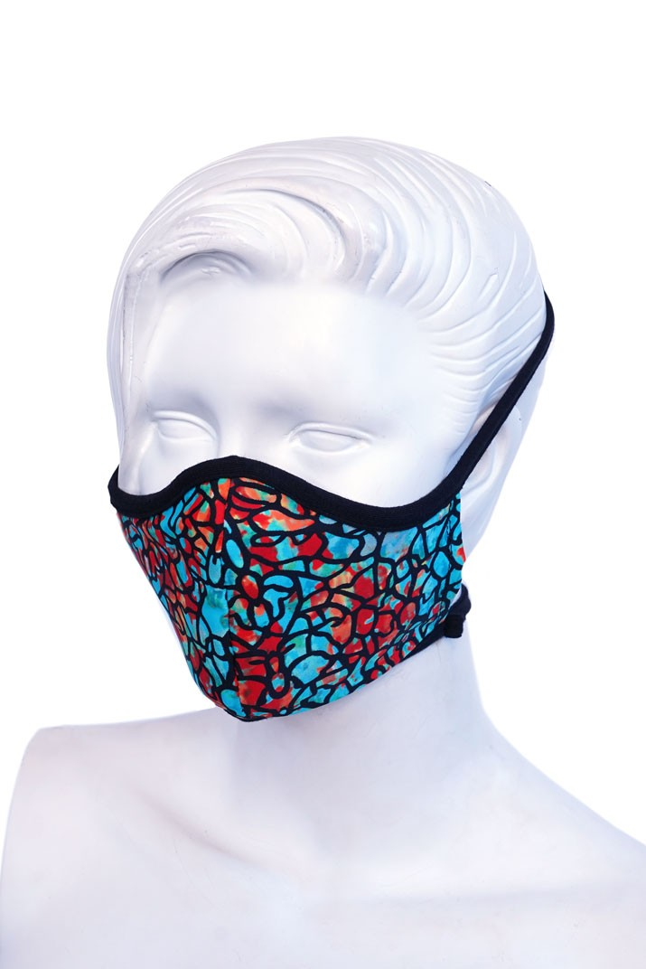 Turquoise Stained Glass Kids or Small Adult Mask