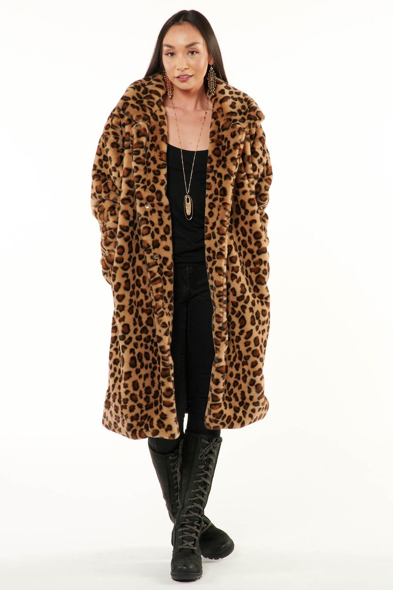 Leopard Minky Faux Fur Coat