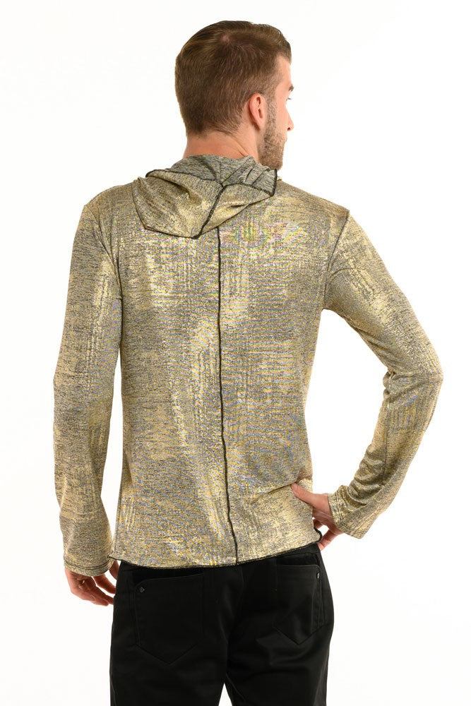 Antique Gold Knit Long Sleeve Men's Top