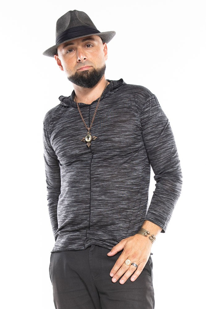 Black & Grey Distressed Long Sleeve Men's Top