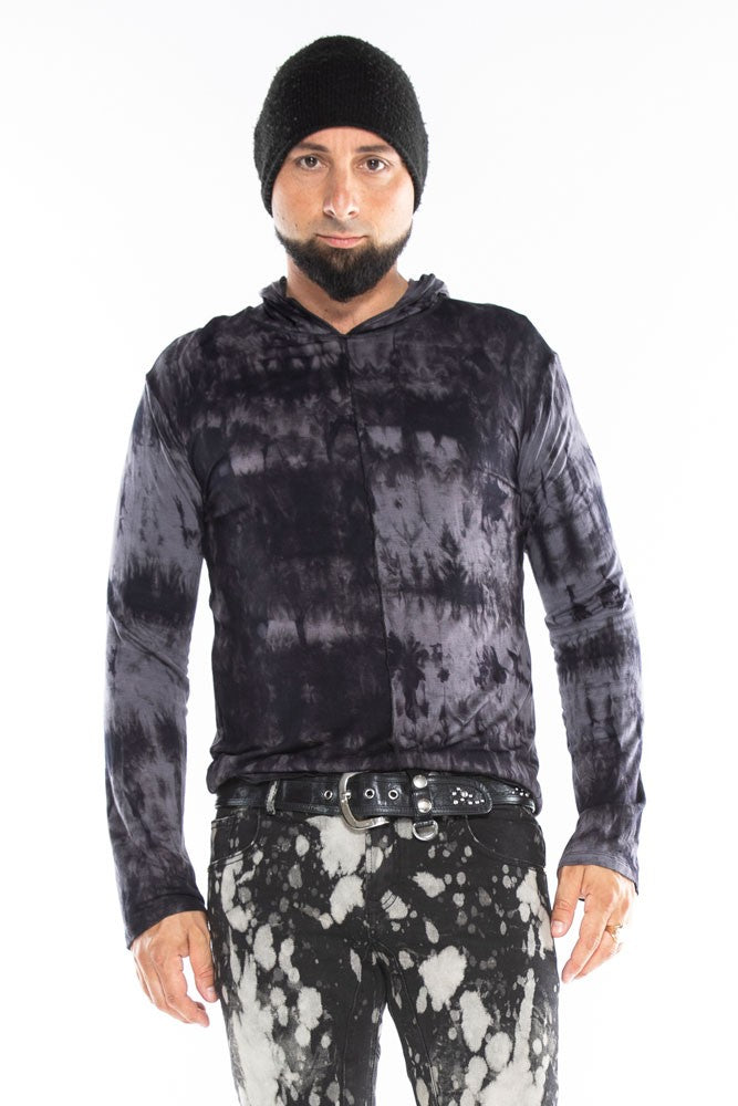 Black & Grey Tiedye Long Sleeve Men's Top
