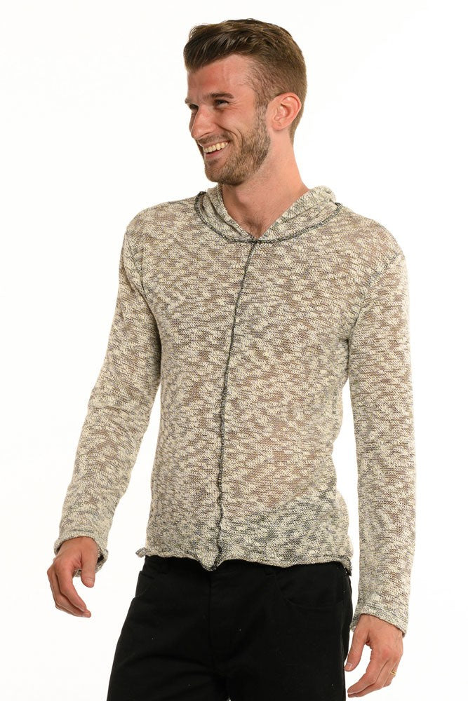 Cream Burnout Long Sleeve Men's Top