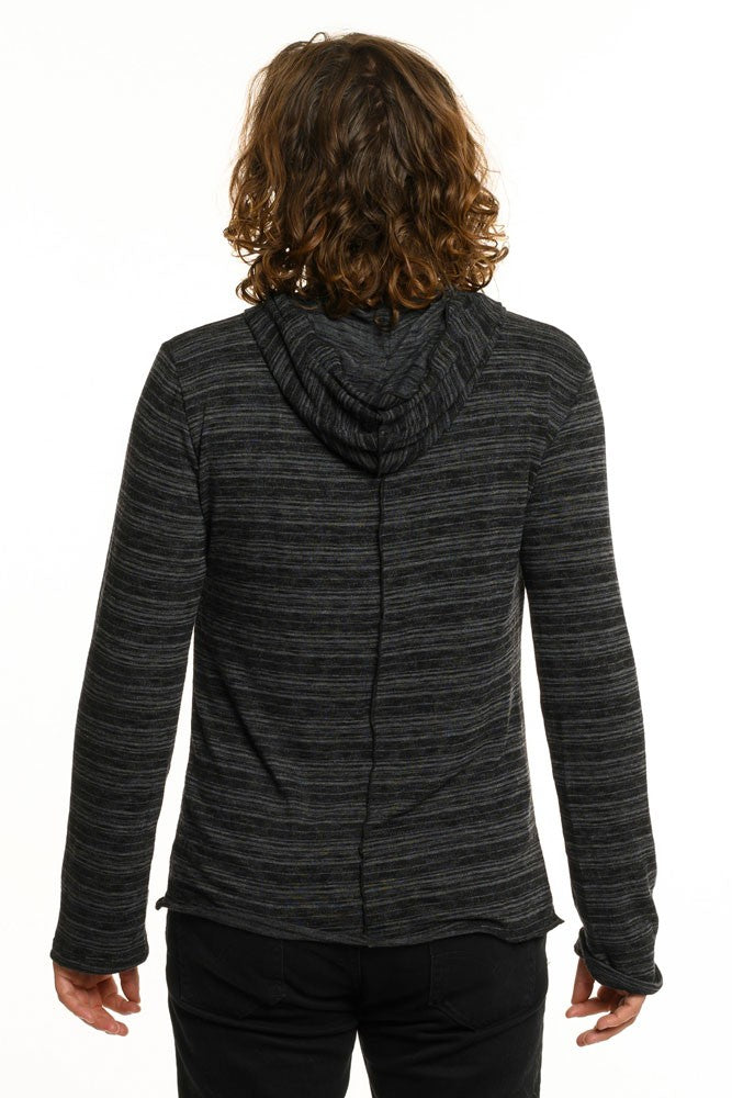 Dark Black & Grey Stripe Long Sleeve Men's Top
