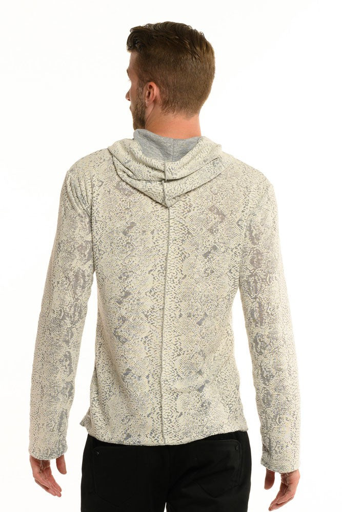 Grey Knit Snake Long Sleeve Men's Top