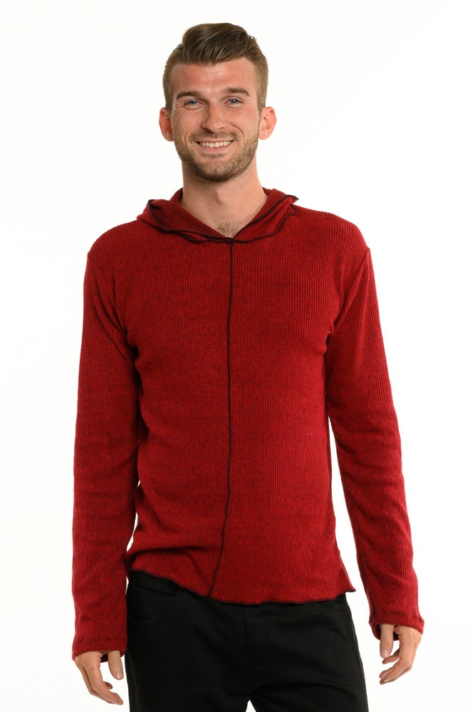 Red Ribbed Cozy Long Sleeve Men's Top